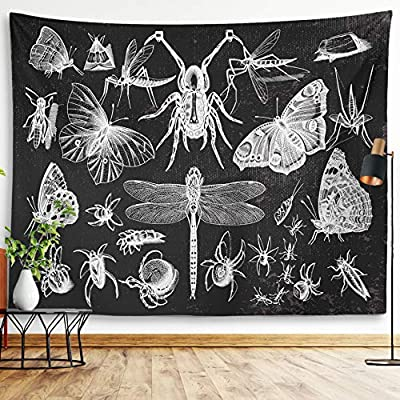 """Butterfly Tapestry Insects And Moths Wall Hanging Black And White Gothic Biology Entomology Wall Decor Grunge Moth Tattoo Wiccan Dragonfly Beetle Spider Witchy Tarot Bohemian Goth Tapestry For Living Room Bedroom College Dorm Room (Insects & Moths, 59""""x79"""