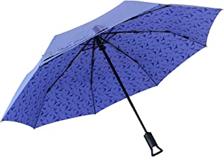 Make Shine ClipGo Sun & Rain Travel Automatic Umbrella, Purple Bird, UV Protection