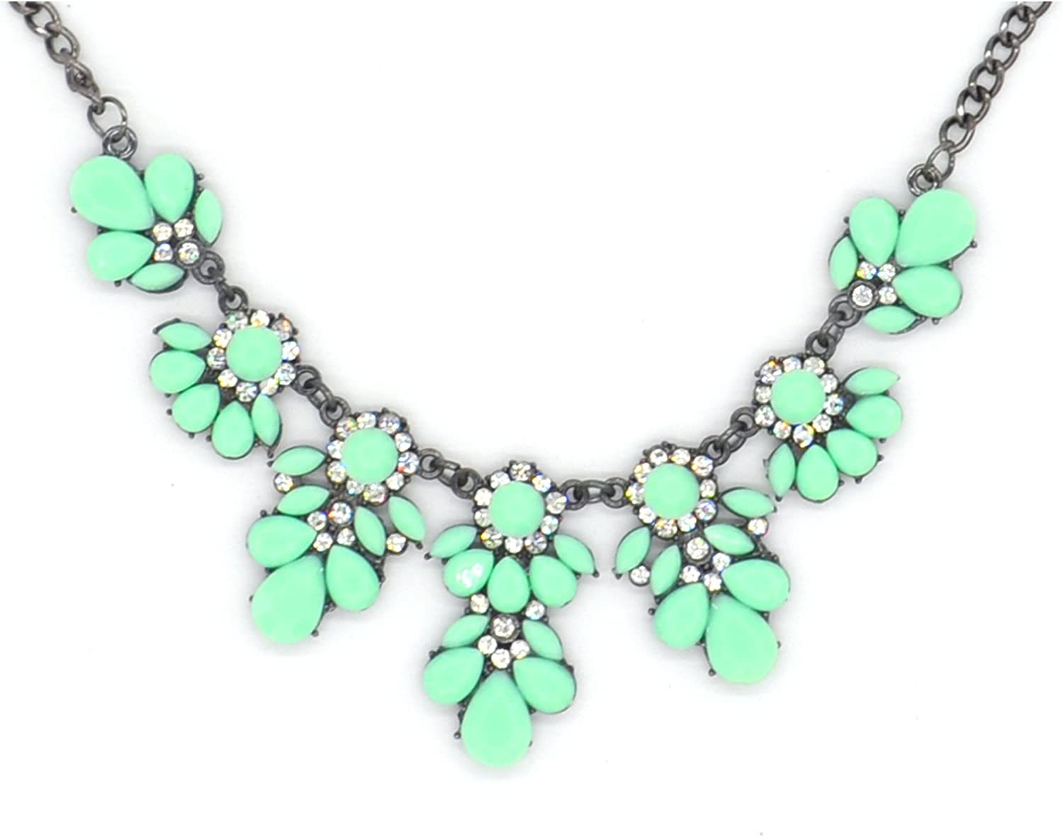 ArRord Fashion Flower Crystal Collar Necklace Statement Chunky Jewelry for Women Green