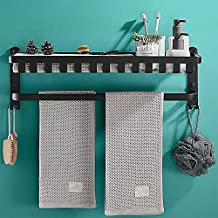 XINHU 40cm, 50 cm, 60cm zwarte badkamer plank badkamer rek badkamer handdoekenrek wandgemonteerd handdoekenrek met dubbele...