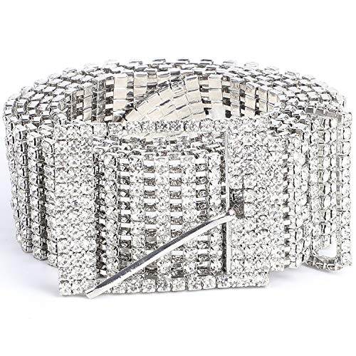 Women Rhinestone Belt Silver Shiny Diamond Crystal Ladies Waist Belt for Jeans Dresses Suit Pant Size 37-43 Inches by WHIPPY