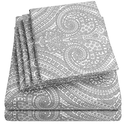 Sweet Home Collection 6 Piece Bed Sheets 1500 Thread Count Fine Microfiber Deep Pocket Set-EXTRA PILLOW CASES, VALUE, Queen, Paisley Gray