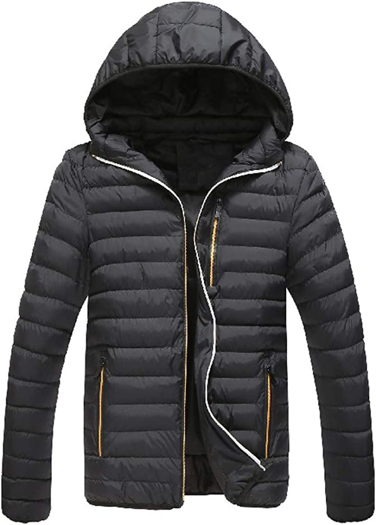 DIOMOR Classic Casual Hooded Puffer Jacket Full Zipper Quilted Down Coat Contrast Color Outdoor Warm Parkas Anoraks
