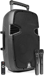 Vonyx SPJ-PA912 mobiele speaker op accu 500W met Bluetooth, mp3 speler, 12 inch woofer en twee draadloze microfoons