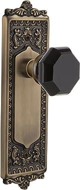 Nostalgic Warehouse 724511 Egg & Dart Plate Privacy Waldorf Black Door Knob in Antique Brass, 2.375