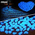 Amagabeli Garden Home 400 Pcs Dark Décor Glow Stones Rocks Outdoor Decorative Luminous Pebbles Gravel Fairy Garden Pathway Walkway, Fish Tank Aquarium Ornaments, Blue