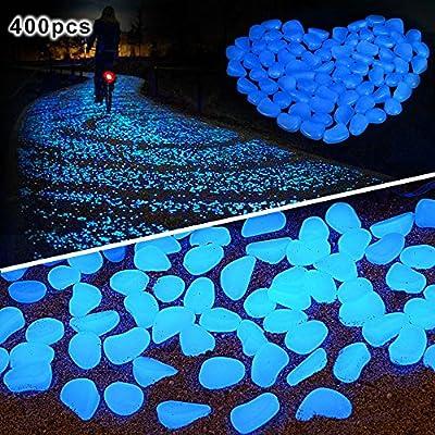 Amagabeli Garden Home 400 Pcs Dark Décor Glow Stones Rocks Outdoor Decorative Luminous Pebbles Gravel Fairy Garden Pathway Walkway, Fish Tank Aquarium Ornaments, Blue