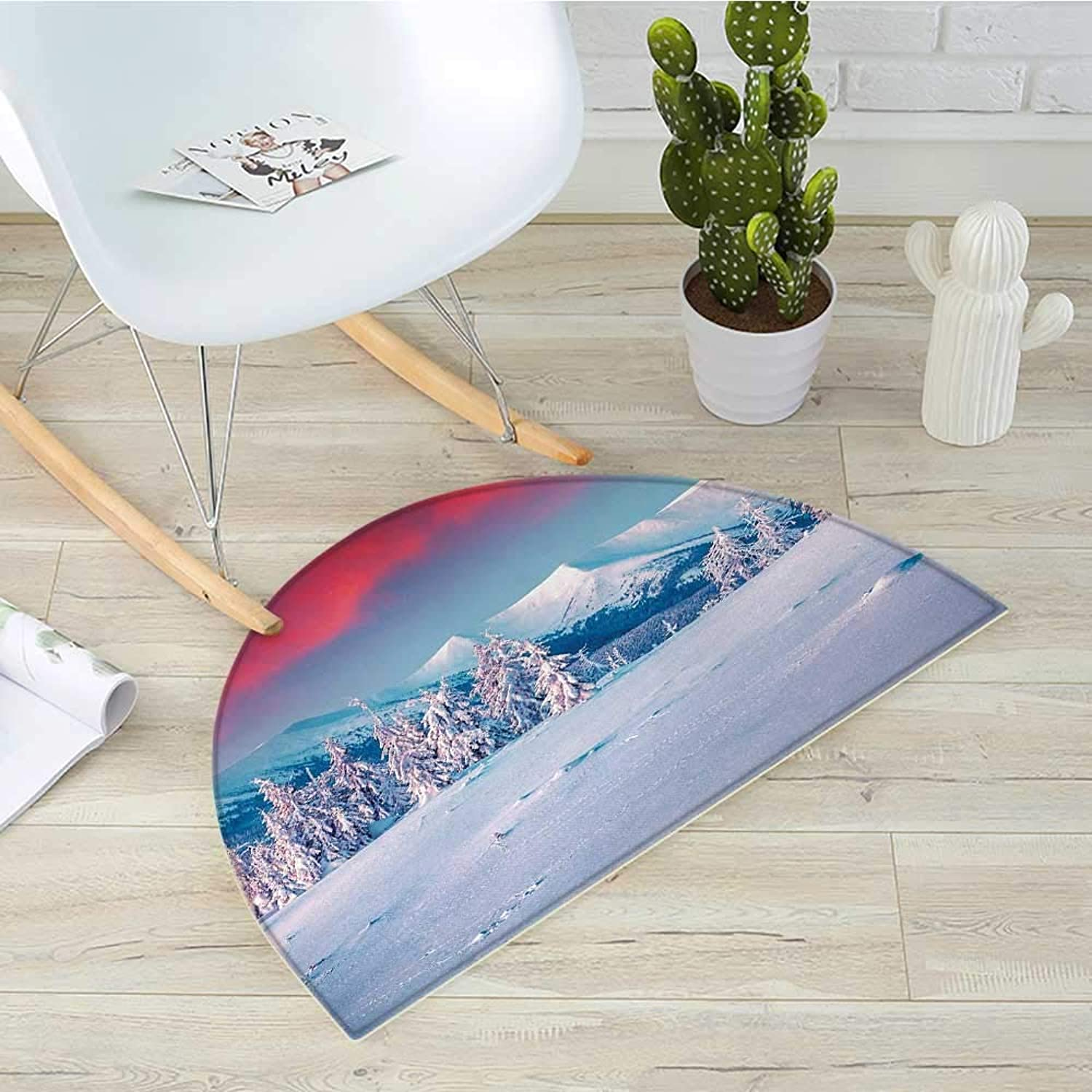 Landscape Semicircular CushionSunset Dawn in Winter Snowy with Pine Trees Forest Mountain Wiev Entry Door Mat H 39.3  xD 59  Dark Coral White Sky bluee