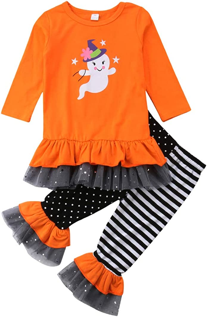 Halloween Baby Girls Ghost Outfit free San Diego Mall Long Shirts Ruffle Sleeve Lace