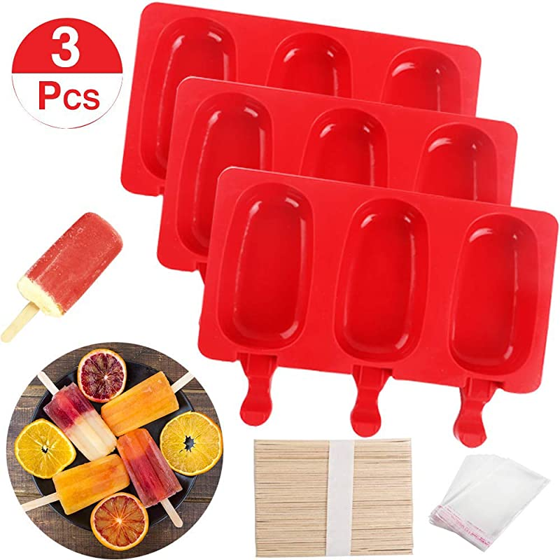 BAKHUK 3pcs Silicone Popsicle Mold With Lid 3 Cavities Ice Pop Mold With 60 Wooden Sticks And 100 Packing Bags