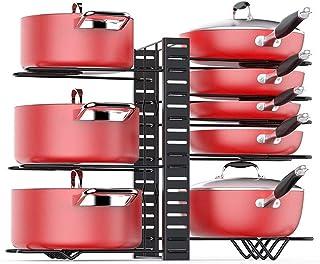Porte Casserole Cuisine Support Multicouche, Espacement Réglable Détachable Organisateur Stockage Pour Planche à Découper,...