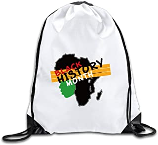 Black History Month Women Face Drawstring Backpack Bag Gym Sack