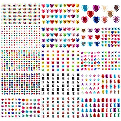 1419 PCS Rhinestone Stickers for Crafts, Gartful Self Adhesive Gem Stickers Crystal Jewel Sticker for Scrapbooking Embellishments, 8 Shapes(Round,Oval,Water Drops,Heart,Star, Square,Flower,Octagonal)