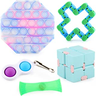 AM ANNA Sensory Fidget Toys Set, Relieves Stress and Anxiety Cheap Fidget Toy for Children Adults,Push Pop Mini Keychain H...