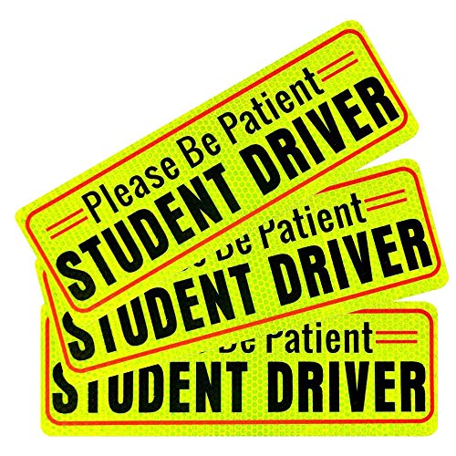 Besby 3pcs Student Driver Magnet Bumper Sticker for Car, Upgraded Magnetic, Reflective Yellow Safety Signs, Please Be Patient Decal for New Driver