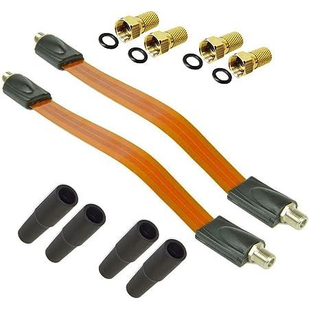 Premiumx 2x Sat Fensterdurchführung 4x F Stecker 4x Gummitüllen Flach Kabel Fenster Und Türen Ultra Flach Durchführung Kabel Elektronik