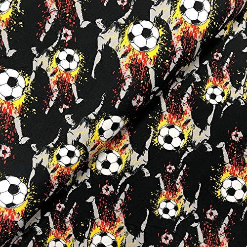 Swafing GmbH Jersey Fußball schwarz/rot/Gold - Stoff - Meterware - 0,5m x VB, Einheit:0.5m