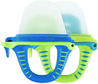 teetherpop 2 Pack Fillable, Freezable Baby Teether for Breastmilk, Purees, Water, Smoothies, Juice & More (BlueLime/LimonTeal)