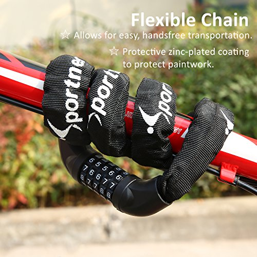 Bike Lock, 7mm-Thick 3.2ft-Long 5-Digit Resettable Combination Bicycle Lock, Heavy Duty Anti-Theft Bike Chain Locks for Road Bike Mountain Bikes Cycling Accessories