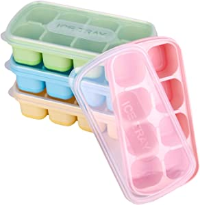 Ice Cube Tray, Yeeco 4 Pack Mini Silicone Ice Cube Trays for Freezer with Lids, Stackable and Reusable 8-Ice Cube Molds, Ice Trays for Whiskey Cocktails Beverages