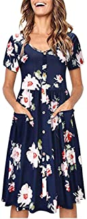 Women Printing Button Down Short Sleeve V-Neck Skater Dress with Pockets Dress