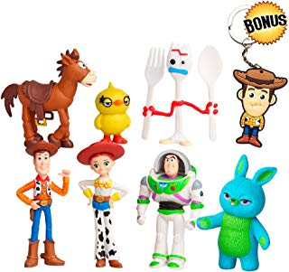 Toy Story Toys – Set of 7 Action Figures with Woody, Buzz and Rex – Premium Animated Collection with Keychain Included – Fun Party Supplies for Toddlers – Cake Topper Set for Birthday