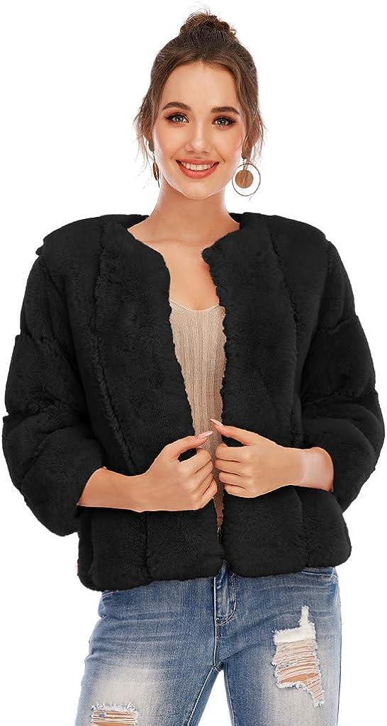 ZYAPCNGN Women Plus Size Short Faux-Fur Coat Warm Furry Jacket Overcoat Long Sleeve Outerwear