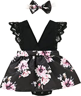 sunnymi 0-24 Monate Kleinkind Baby Mädchen Outfits V-Ausschnitt Kleidung Süße Blumen Strampler Kurzer Rock Anzug