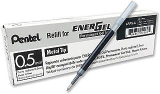 Pentel 0.5 mm EnerGel Permanent Ink Refills - Black Ink (Pack of 12 Refills), LRP5-AX