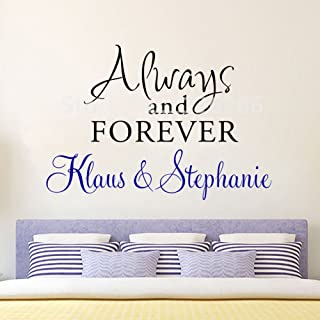 Wall Sticker Quotes Personalized Couple Name Wall Decal Always and Forever Love Quotes Vinyl Stickers for Living Room Bedroom