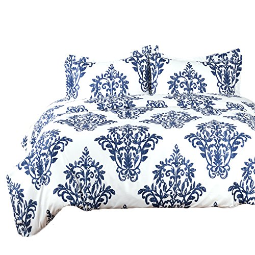Bedsure Victoria Blue Modern Duvet Cover Set with Zipper Closure Printed King (104x90 inches)-3 Pieces (1 Duvet Cover + 2 Pillow Shams) Ultra Soft Hypoallergenic Microfiber