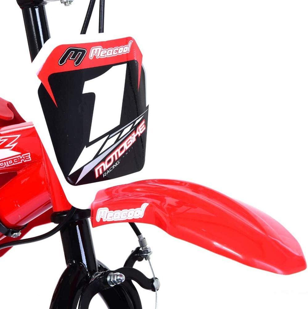 Delaspe Kinderfiets 16 motorfietsontwerp met spatborden en V-rem voor jongens en meisjes Rood