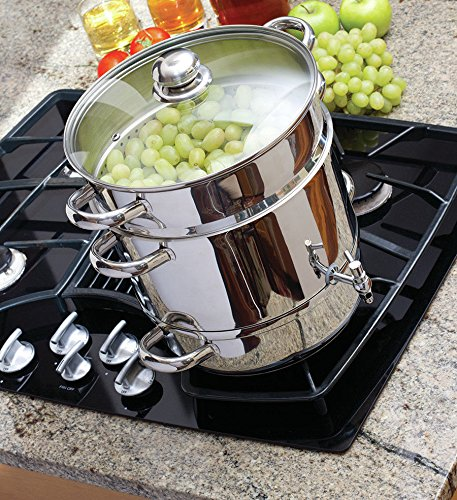 Home Kitchenware Euro Cuisine Stainless Steel Stove Top Steam Juicer w Recipe Book