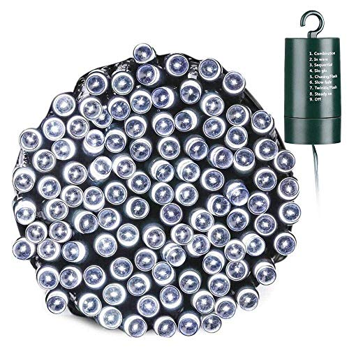 Toodour Battery Christmas Lights, 68.9ft 200 LED Christmas String Lights with 8 Twinkle Modes, Timer, Waterproof Battery Operated String Lights for Home, Holiday, Christmas Decorations (White)