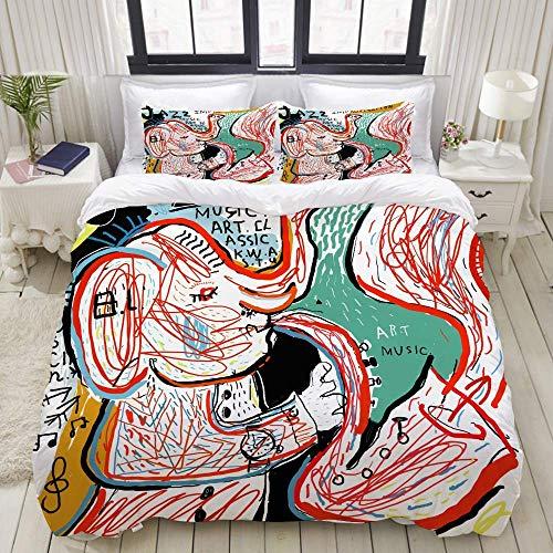 993 CCOVN Bettwäsche Set, Mikrofaser,Modern,Bild Elefant, der auf Trompete spielt, 1 Bettbezug 240 x 260cm + 2 Kopfkissenbezug 80x80cm