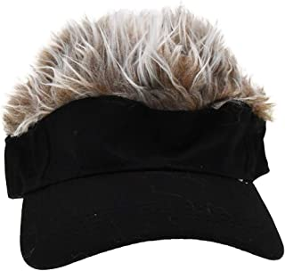 Adult Novelty Sun Visor Cap with Spiked Hairs Wig Peaked Adjustable Baseball Hat