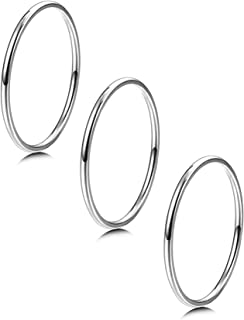 LOYALLOOK 3pcs 1mm Stainless Steel Women's Plain Band Knuckle Stacking Midi Rings Comfort Fit Silver/Gold/Rose Tone
