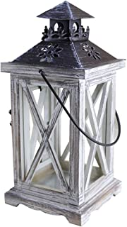BESTONZON Vintage Decorative Lantern Candle Holder Wooden Rustic European Style for Table Top Mantle Wall Hanging Display Party Decor Indoor Outdoor Use