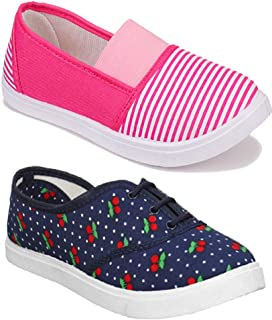WORLD WEAR FOOTWEAR Women Multicolour Latest Collection Sneakers Shoes- Pack of 2 (Combo-(2)-11023-763)