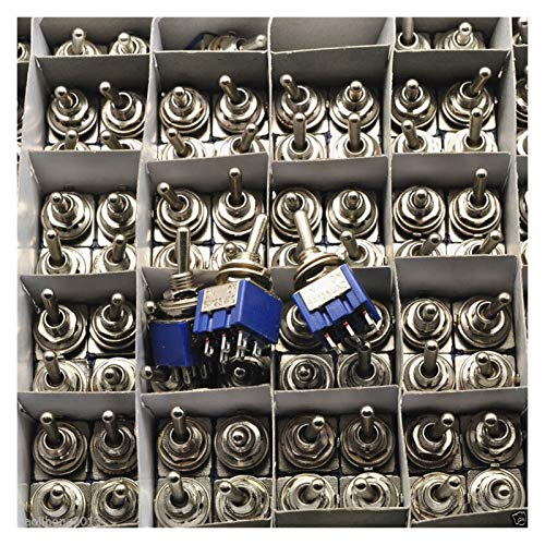 JSJJAWS Codificador de Interruptor 10pc / Lote Blue Mini MTS-102 3-Pin SPDT On-On-On-On 6A 125VAC interruptores de Palanca en Miniatura
