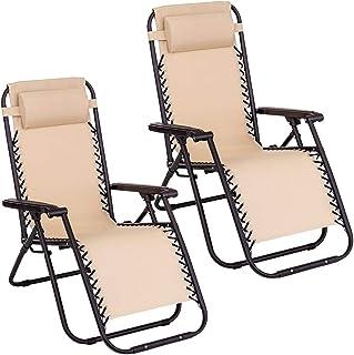 Pack de 2 sillas Gravedad Cero reclinables con Bloqueo de Seguridad de Tejido Oxford y Acero de 95x65x106 cm (Beige)
