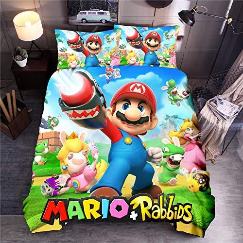 YOMOCO Mario Game Juego de ropa de cama – Funda nórdica y funda de almohada, microfibra, impresión digital 3D de tres piezas (05, doble 200 x 200 cm)