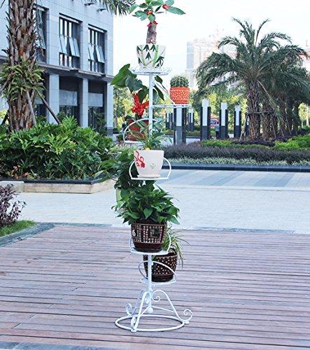 ZENGAI Faire Pivoter Le Plateau De Fleurs Ensemble 7 Pots en Pot À Fleurs Ensemble Multi-Couches (Couleur : Blanc, Taille : 56 * 23 * 154cm)