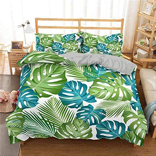 WGLG Double Bed Duvet Sets, Bedding Set 3D Print Blue Parrot Tropical Leaf Cactus Home Textiles Duvet Cover Set And Pillowcase