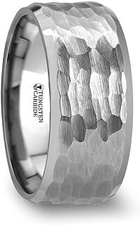 White Tungsten Carbide Hammered Finish Beveled Edges Wedding Ring 10mm Band