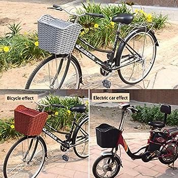 HYFDGV Panier de vélo pour Chien rétro pour Porte-Bagages en Osier 34 x 24 cm avec pièce en Bois de Panier pour Animaux Panier de Chien pour vélo,Brown