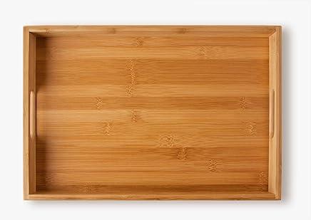 Preisvergleich für schöne Serviertablett Tablett Servierplatte Serving Plate Serving Tray aus Bambus, 40 cm x 28 cm x 4.5 cm, 580 g