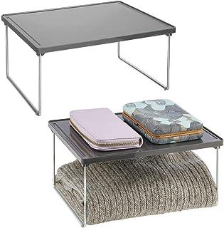 mDesign rangement pour vêtements (lot de 2) – étagère en métal et plastique pour plus d'espace rangement dans l'armoire – ...