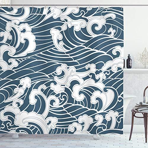 ABAKUHAUS Japanische Welle Duschvorhang, Fluss Sturm Retro, Moderner Digitaldruck mit 12 Haken auf Stoff Wasser & Bakterie Resistent, 175 x 200 cm, Schieferblau Weiß