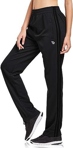 BALEAF Women's Track Pants Sports Athletic Sweatpants with Zipper Pockets Lounge Jogging Sweat Pants Open Leg
